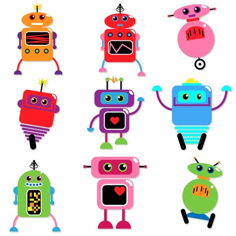 printable robot name tags robots clipart and vectors tulipworks robot printables