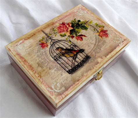decoupage box decoupage box with a birdcage bea deco