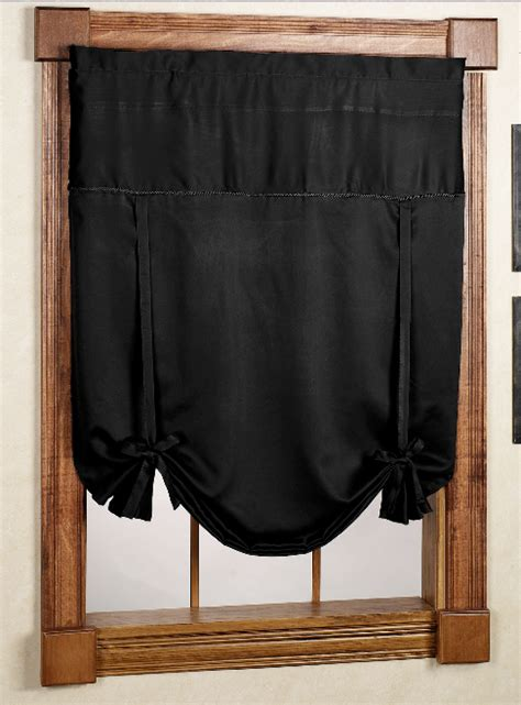 Black Kitchen Curtains And Valances Blackstone Tie Up Curtain Black United Kitchen Valances