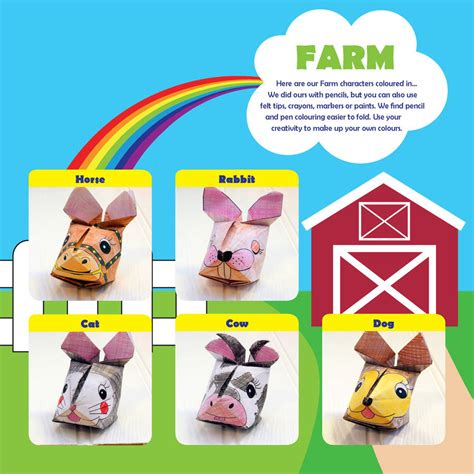 Origami Farm Animals - farm animals origami craft kit by popagami