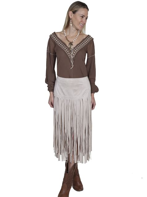 Fringe Home Decor by Pungo Ridge Scully Ladies Long Fringe Skirt Ivory