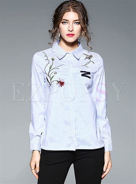 43509 Blue Striped Embriodery Blouse light blue striped embroidery sleeve blouse ezpopsy