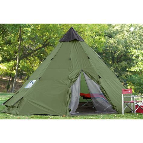 backyard teepee tent guide gear teepee tent 18 x 18 175419 outfitter canvas tents at sportsman s guide