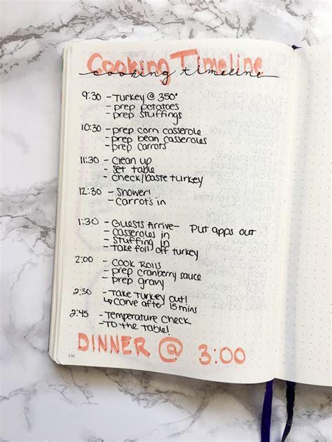 dinner journal thanksgiving dinner bullet journal spread productive