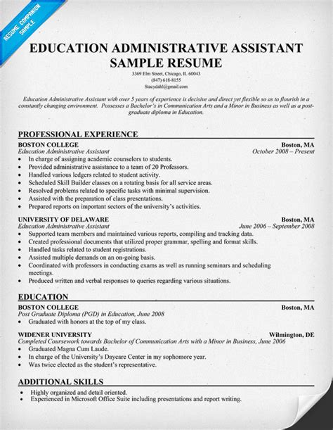 Administrative Assistant Resume Education Special Education Resume Exles