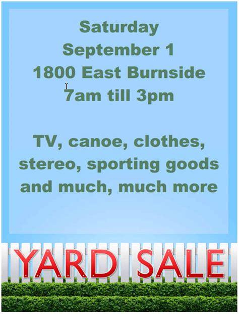 Garage Sale Flyer Template Word by 15 Free Yard Sale Flyers Of Great Help Demplates
