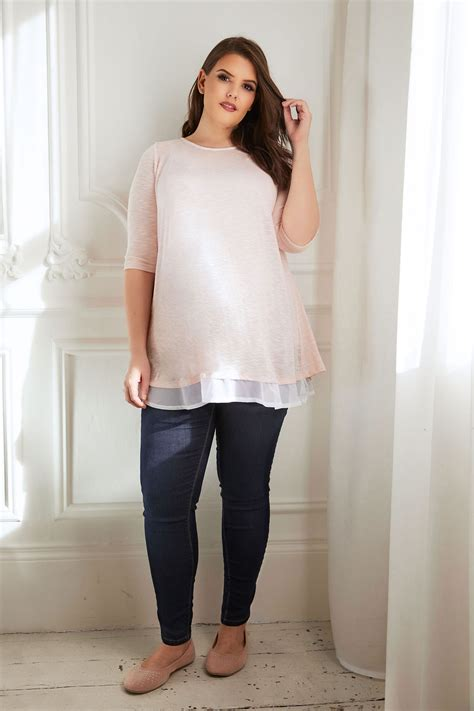 bump it up maternity pink knit top with chiffon layer