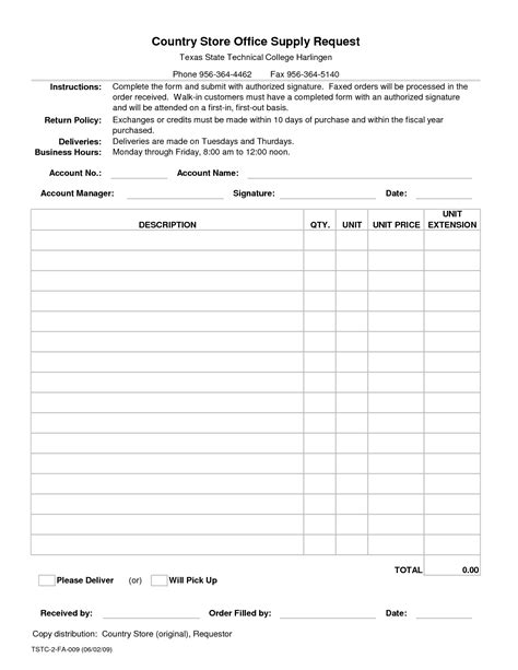 office supplies order form template best photos of office supply order list template office