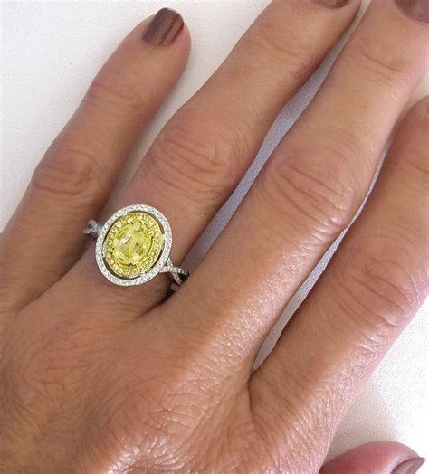 Yellow Sapphire 3 88crt Big Size oval yellow sapphire and halo ring with yellow