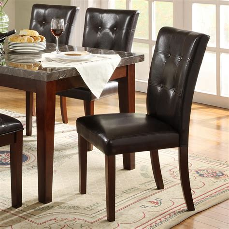 brown leather tufted dining chair homesullivan watersford brown faux leather tufted
