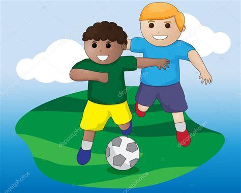 imagenes de dos niños jugando futbol f 250 tbol los ni 241 os vector archivo im 225 genes vectoriales