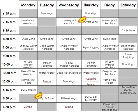 a management scheduling system for fitness professionals revised fitness class schedule effective monday may 21st