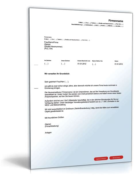 Anschreiben Bewerbung Hausverwaltung Werbebrief F 252 R Eine Hausverwaltung Vorlage Zum
