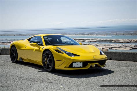 ferrari yellow car amazing ferrari 458 speciale photoshoot by the sea gtspirit