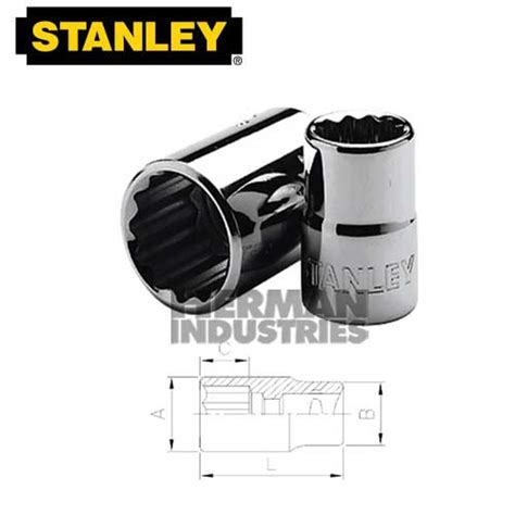 stanley socket standard 1 2 quot drive 12 point 16 mm model 88 788 1 23 herman industries