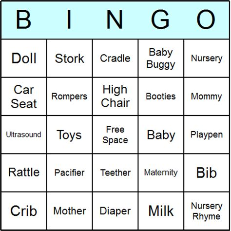 baby shower bingo cards printable bingo activity game