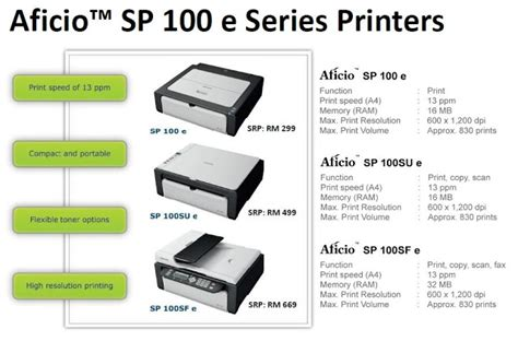 Printer Ricoh Sp 100 ricoh malaysia launches aficio sp 100 e series printers