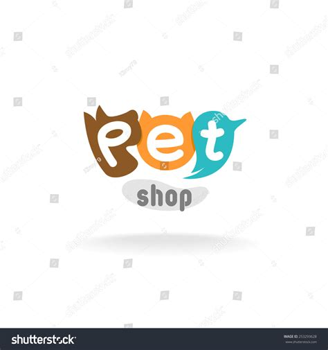 family pet store logo template logo templates creative pet shop logo template heads brown stock vector 253293628