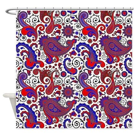 blue and white paisley curtains red white and blue paisley shower curtain by admin cp59133934