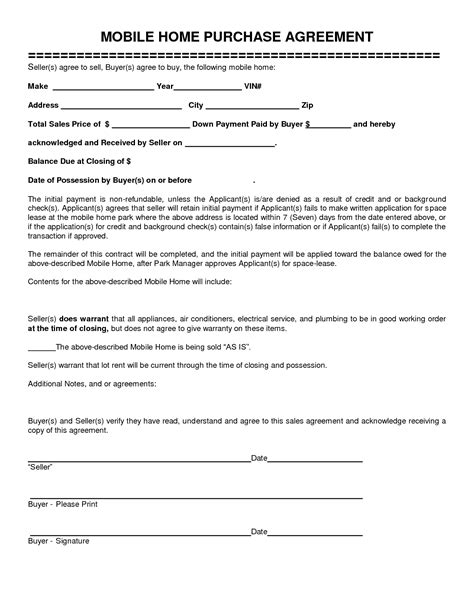 House Sales Contract Template best photos of home purchase agreement home purchase agreement form template mobile home