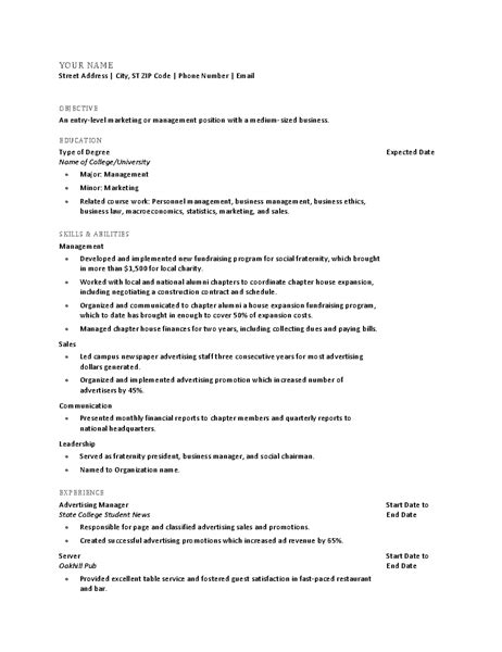 Resume College Graduate by Education Office