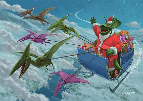 christmas dinosaur santa ride painting by martin davey