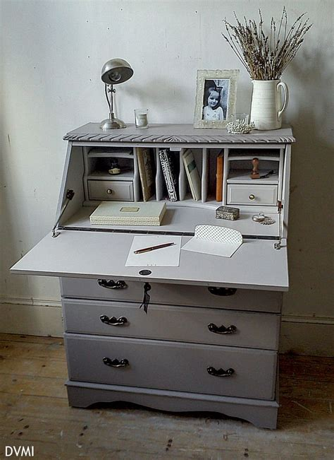 lovely painted vintage shabby chic bureau desk farrow ball ebay home pinterest grey