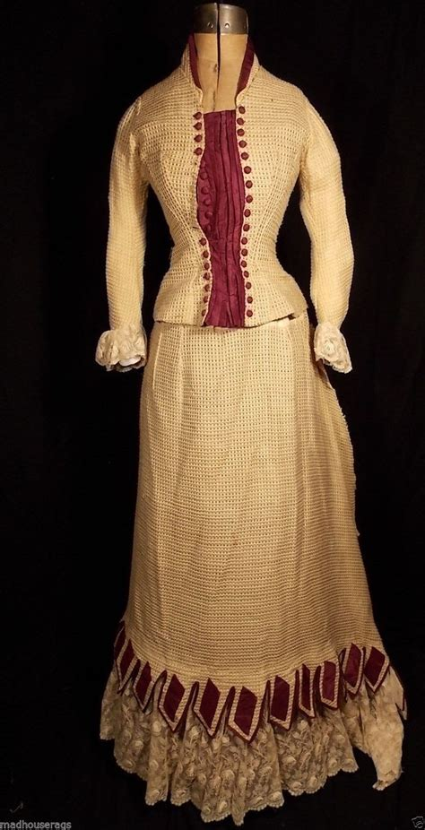 Dress Front Ribbon Maroon A15457gn two similar bustle gowns 1870 s 1880 s maroon ivory