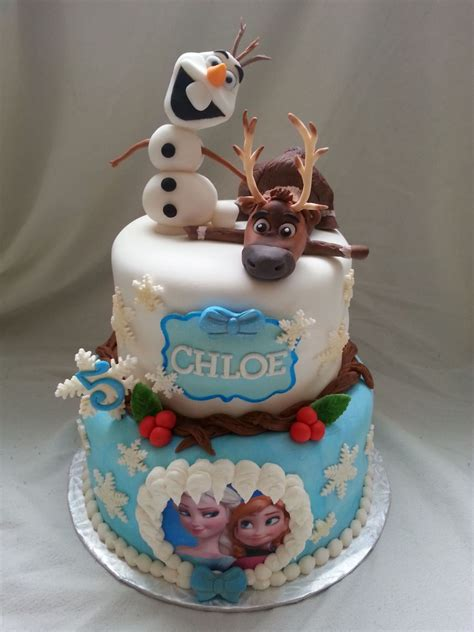 Handmade Birthday Cakes - frozen cake with handmade sven and olaf cakecentral