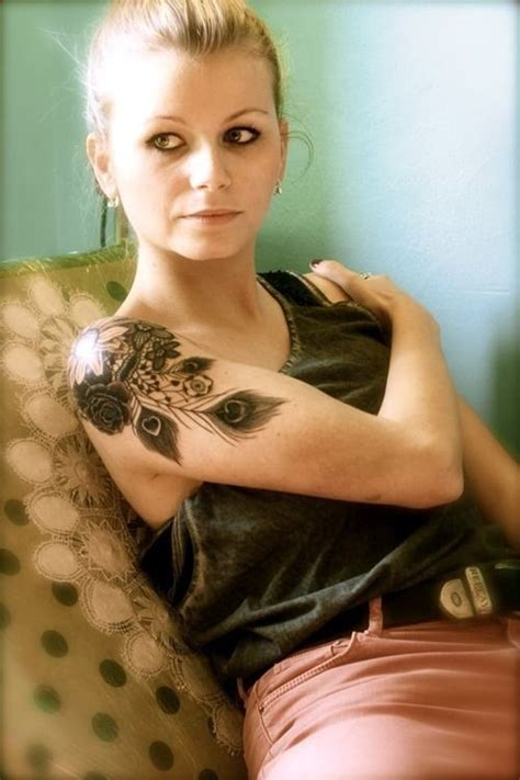 feather tattoo on girl s arm flower sleeve tattoos for women beautiful tattoo design