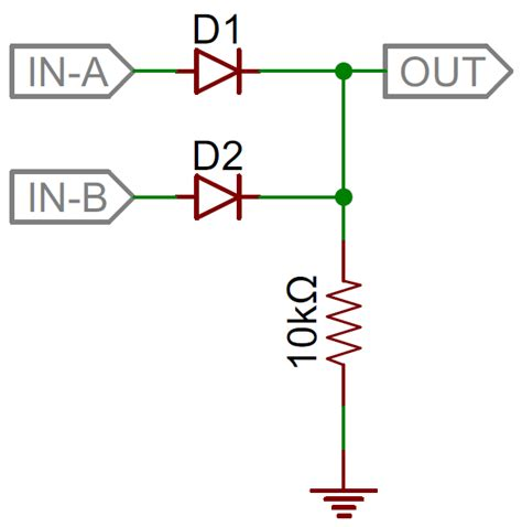diode circuit for not gate diodes learn sparkfun