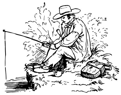 man is fishing coloring pages printable fisherman
