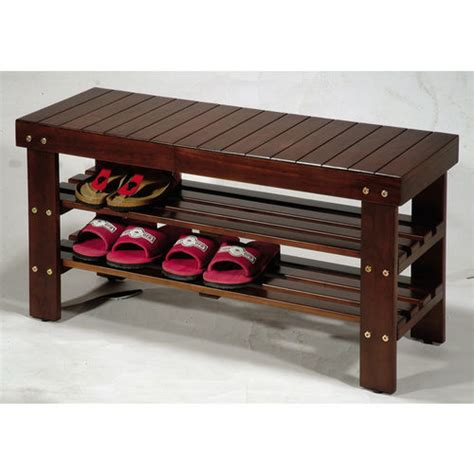 solid wood shoe bench pina solid wood shoe bench with 2 shelves at brookstone