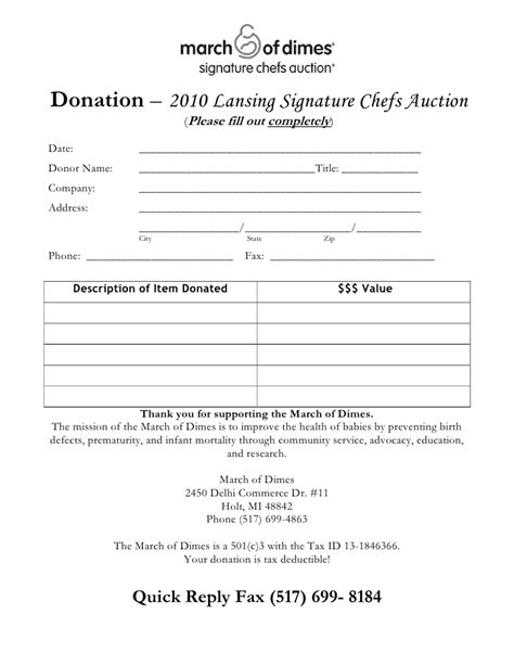 template receipt won auction items chef s auction donation form