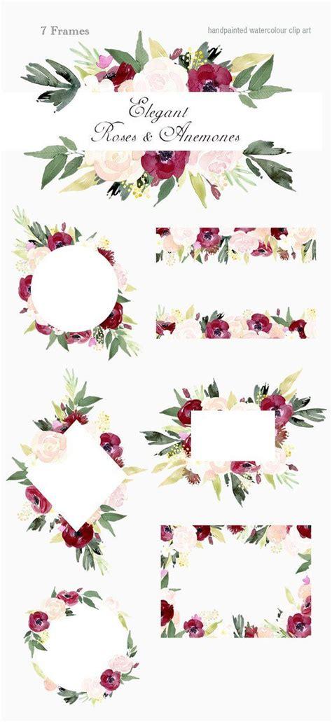 elegant roses  anemones frames floral clip art