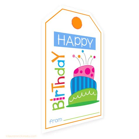 Printable Birthday Gift Tags Cards - hanging gift tags birthday cake gift tags and card lauren mckinsey printables