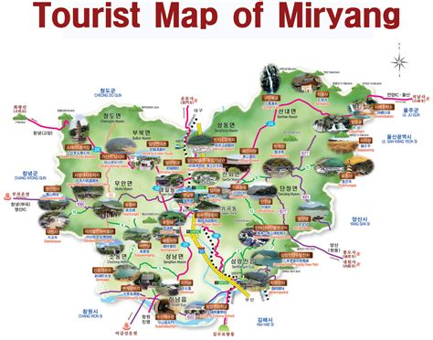 tourist attractions map miryang city tourist map miryang mappery