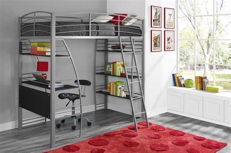 dorel studio silver twin loft bed  integrated desk