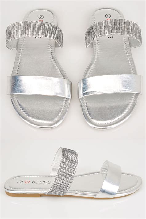 Anya V2 Patent Lower Heel silver slider sandals in eee fit