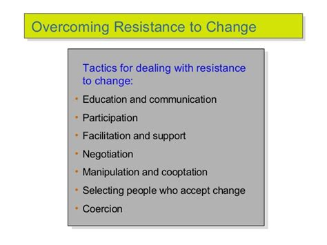 what are resistors to change change management