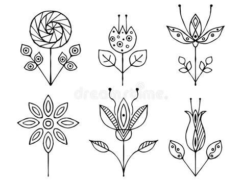 fiori stilizzati in bianco e nero insieme dei fiori puerili in bianco e nero stilizzati