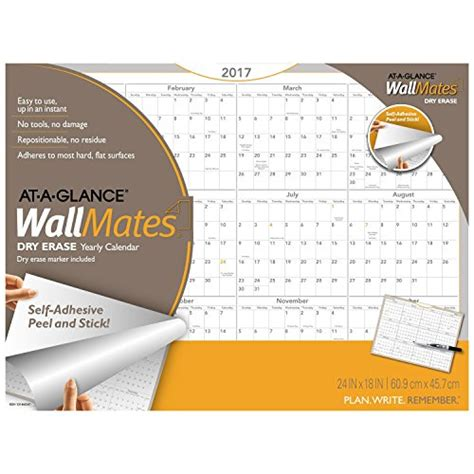 Adhesive Erase Wall Calendar - at a glance