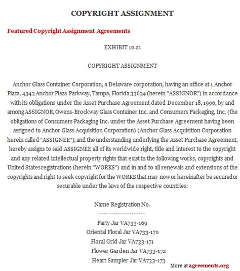 copyright contract template free copyright assignment agreement canada for california high