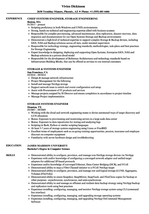 resume format for system engineer systems engineer storage engineer resume sles