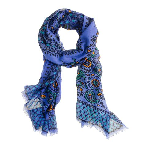 j crew vibrant paisley scarf in blue lyst