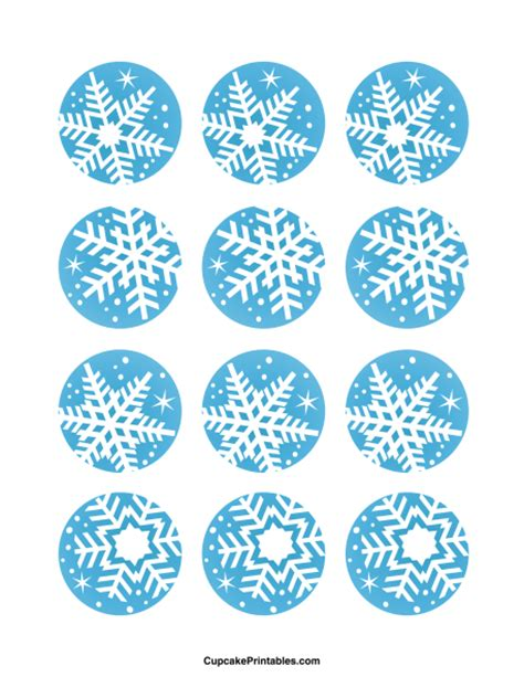 printable snowflake tags snowflake cupcake toppers use the circles for cupcakes