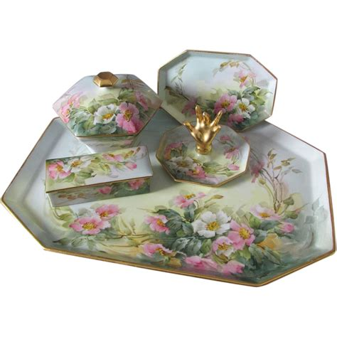 Vanity Tray Sets by Lovely Painted Limoges Dresser Vanity Set