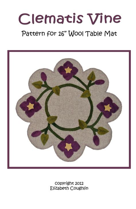 leaf pattern clematis rug pdf pattern for a 16 inch wool table mat penny rug clematis