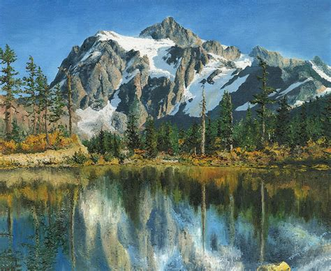 Wood Cabin Plans by Fall Reflections Cascade Mountains Painting By Mary