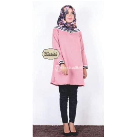 Baju Atasan Pink Cat lenia tunik baju kemeja atasan wanita warna pink terbaru